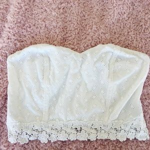 White Floral Lace Tube Top
